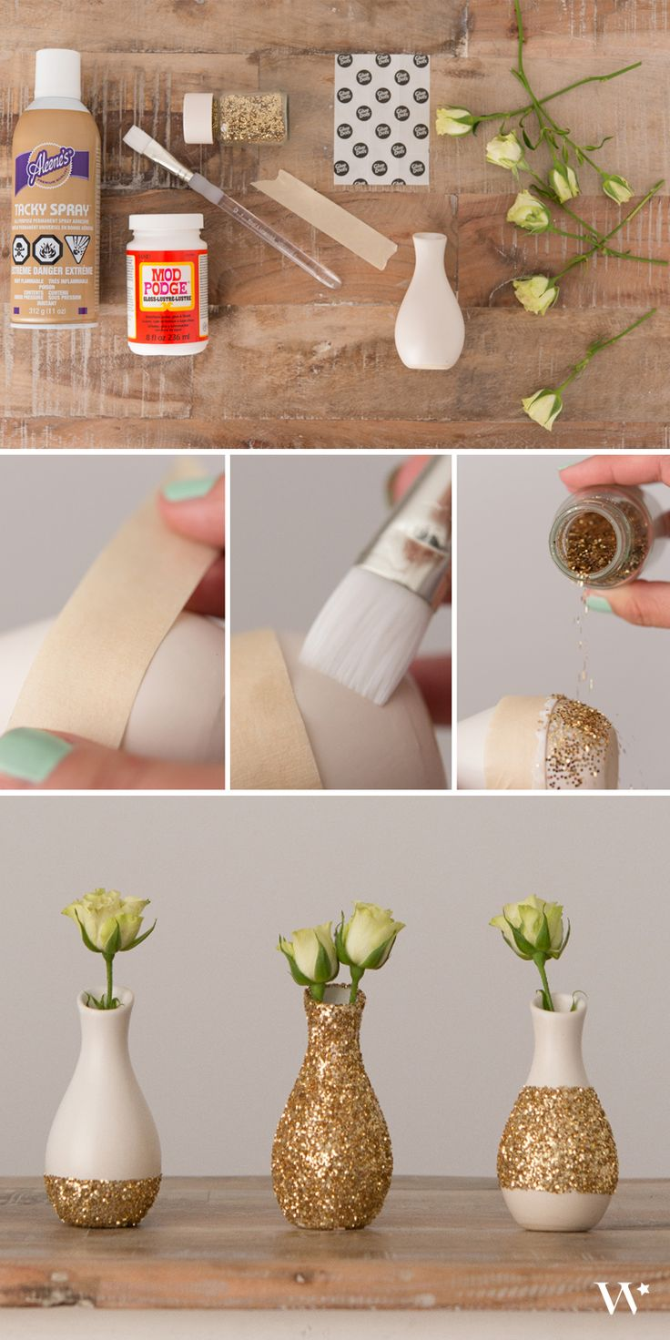 Did you know a little glue and some glitter can transform your wedding tablescape from ordinary to extraordinary?!? It's true! See how easy it is with our newest handmade wedding tutorial: http://blog.weddingstar.com/diy-wedding-wednesday-pattern-play-mini-vase-sets/