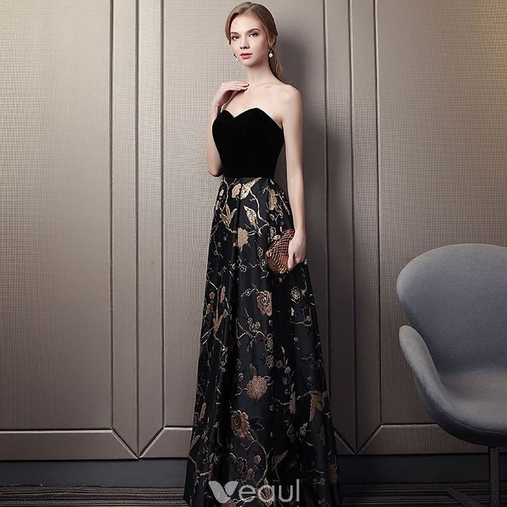 Chic / Beautiful Black Gold Prom Dresses 2018 Empire Sweetheart Sleeveless Embroidered Floor-Length / Long Ruffle Backless Formal Dresses