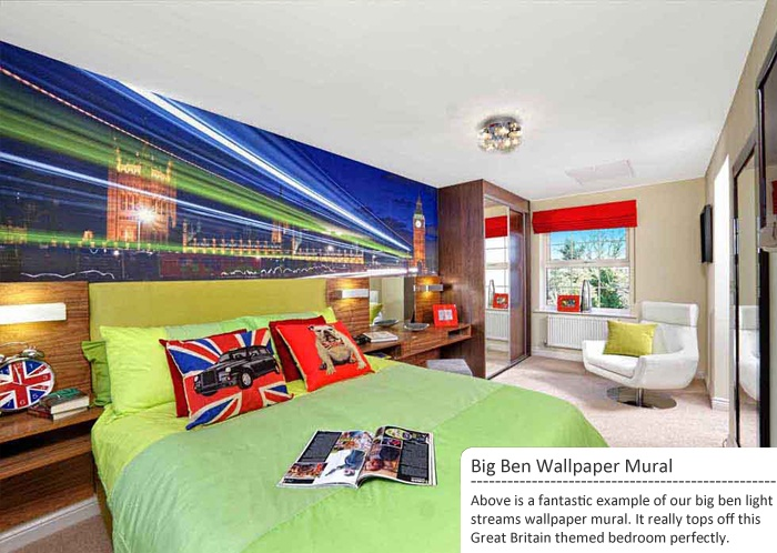 Cool Big Ben wall mural in a British themed bedroom.