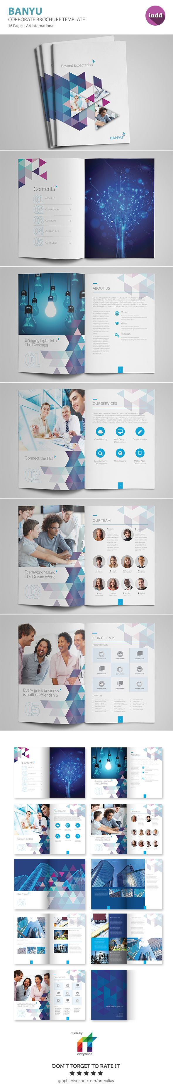 BANYU – Professional corporate brochure templates is perfectly match for any business related to services or project based. Triangle shape used to represent current trend shape and look forward. This template comes with 16 pages, A4 International.