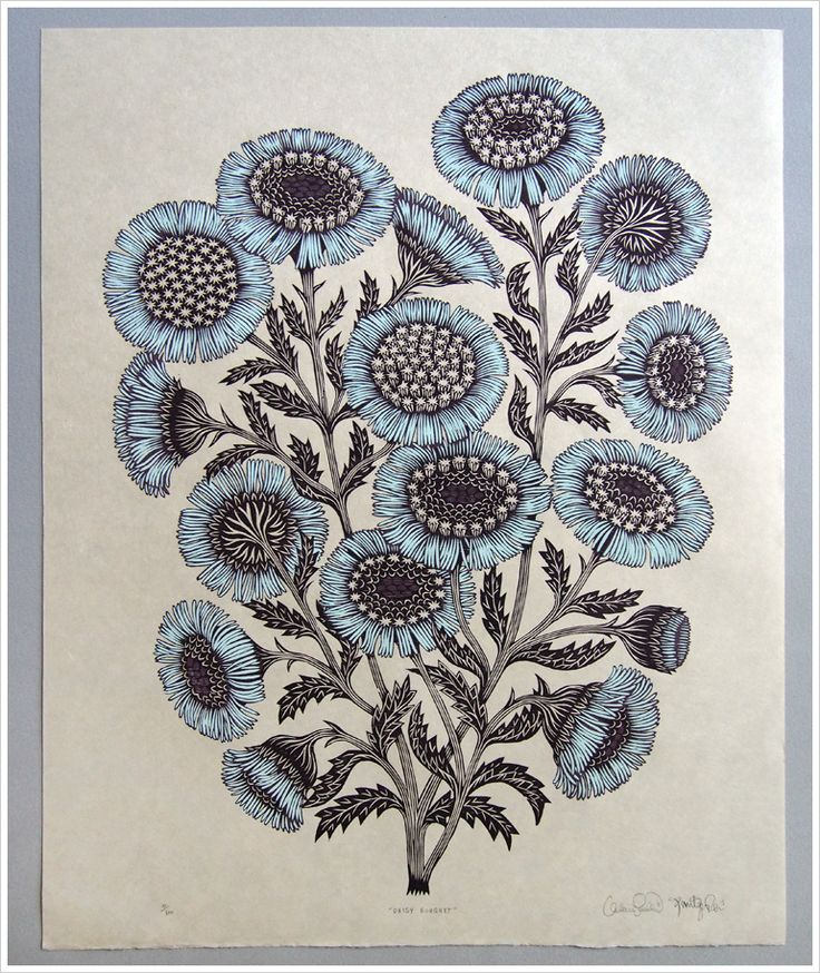 Daisy Bouquet Woodcut Print, Woodblock Print by Tugboat Printshop