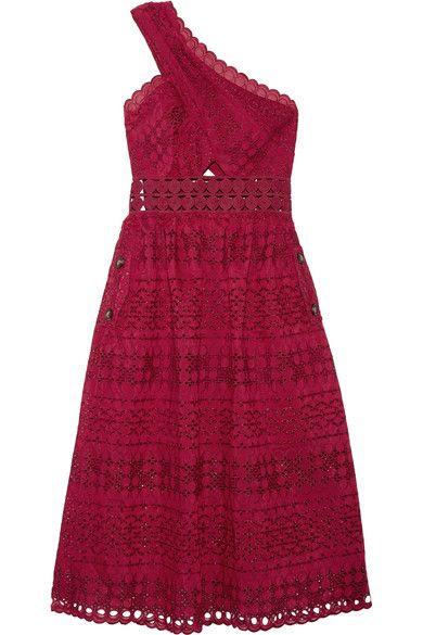 Self-Portrait - One-shoulder Cutout Guipure Lace Midi Dress - Red