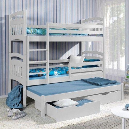 Lit superposé Jack III avec lit gigogne - 3 couchages - Blanc