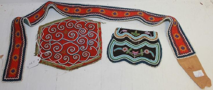 3 WOODLAND INDIAN BEADWORK PIECES ON TRADECLOTH