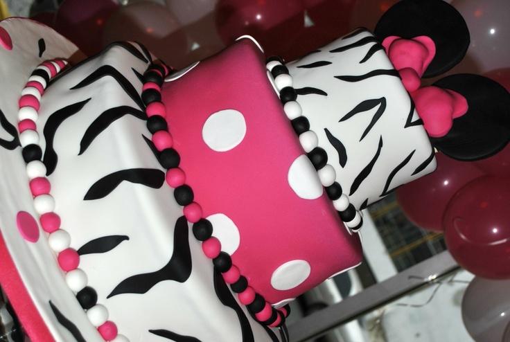 Minnie Mouse Cake. Zebra print  Baby shower  Pinterest  Zebra print ...