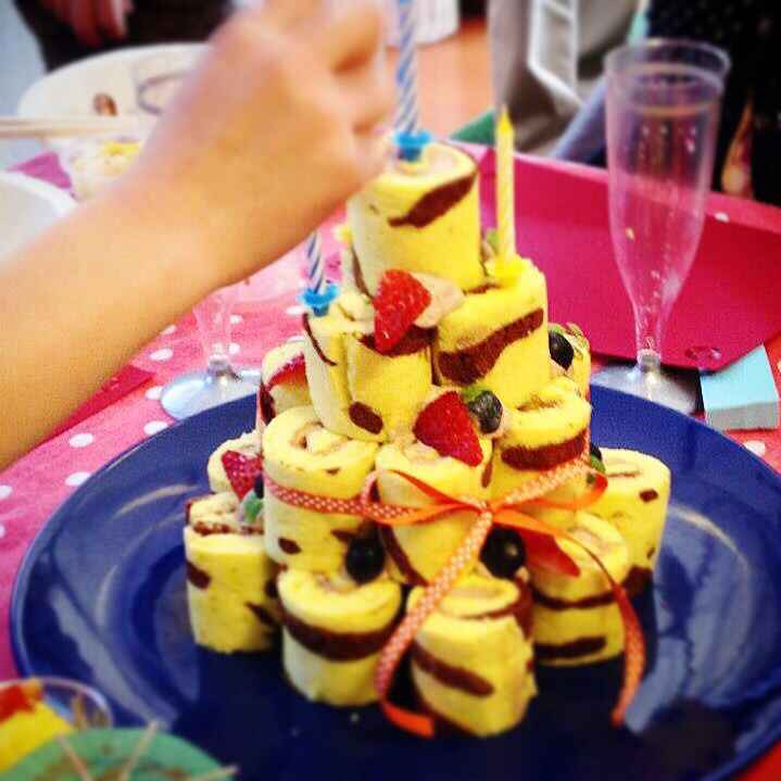虎模様の誕生日ケーキ