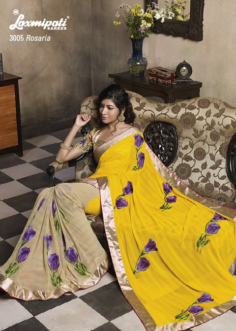 This Chiffon saree has a natural color and prints which makes you feel fresh , Resham work enhances it beauty to great extent.