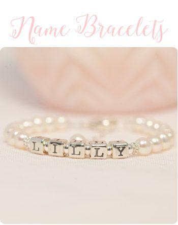 Pearl Name Bracelets personalized for newborn baby from Little Girls Pearls.