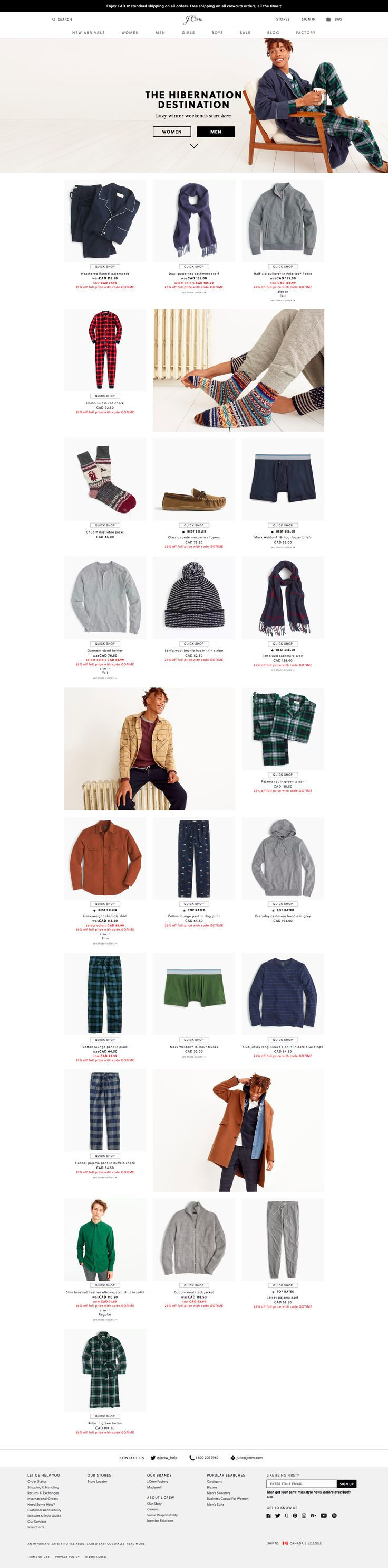 J. Crew banner above assortment with CTA