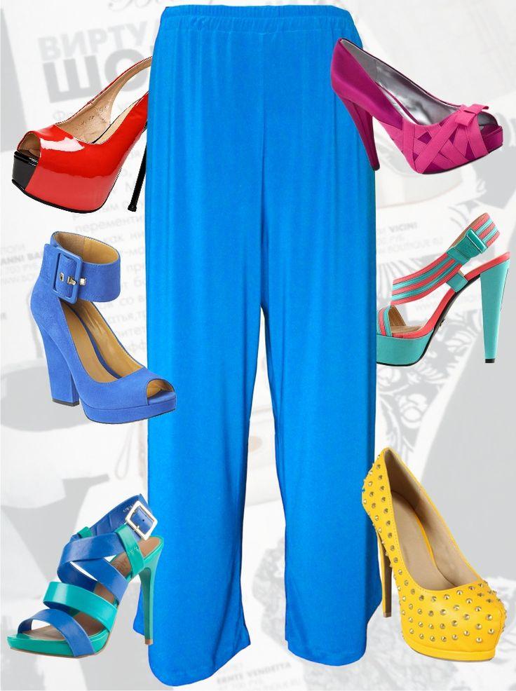 26$ Трикотажные брюки для полных женщин и девушек яркие Артикул 521, р50-64 Брюки трикотажные большие размеры