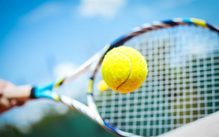 Download wallpapers tennis yellow ball, racket, tennis, sports concepts, 4k