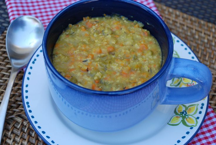 Split Pea Soup.  An inexpensive meal that makes a ton.  Put it in serving size containers in the freezer so you can grab one and defrost when you need.  Vegan and gluten free.