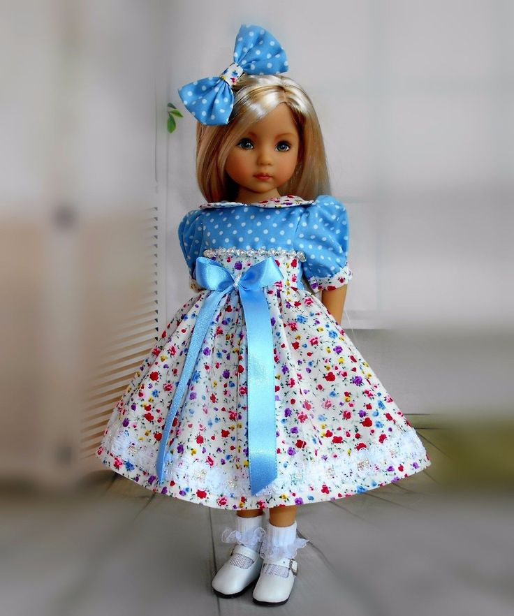 Dress & hair bow compatible with Dianna Effner 13""