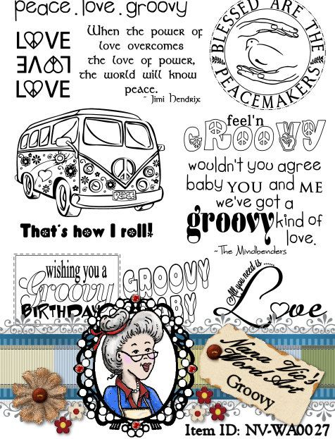 Groovy Hippie Word Art Sentiments Instant Download Digital Digi Stamps ID:NV-WA0027 By Nana Vic