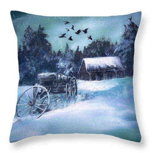 Rustic Winter Barn  Throw Pillow for Sale by Michele Carter