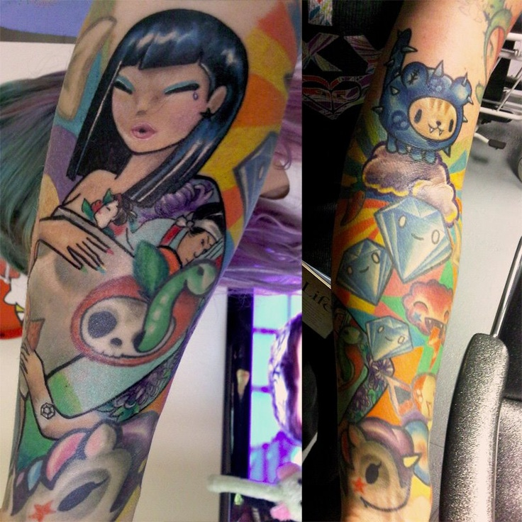 Erin's tokidoki sleeve by Nate Davenport at State of Art Tattoo! Send in your photos to inked@tokidoki.it