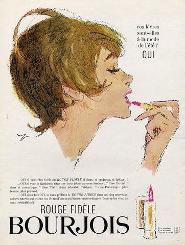 Bourjois (Cosmetics) 1965 Drawing Hof Lipstick Vintage advert Cosmetics illustrated by Hof | Hprints.com