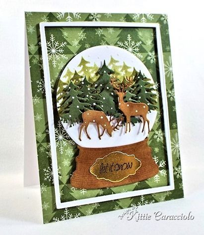 Beautiful die cut and dry embossed snow globe card using fir trees, deer and wood mounting.  Very unique!