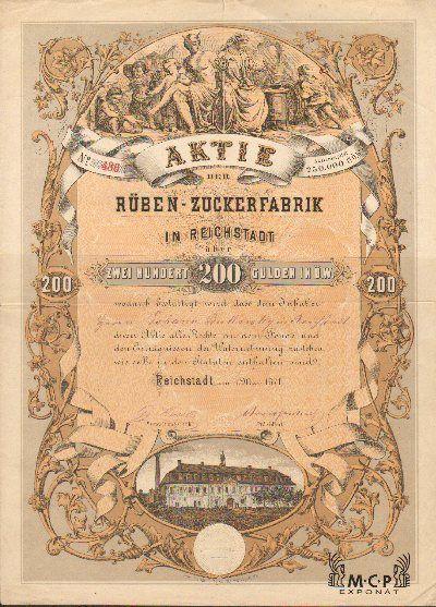 A2080 Muzeum cennych papiru / Rüben-Zuckerfabrik in Reichstadt 200 Gulden, Reichstadt 1871 / AZP3CZ164