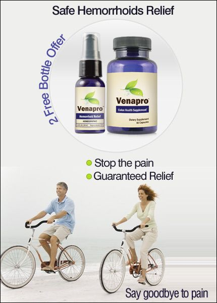 The Venapro Homeopathic Hemorrhoid Relief formula get's rid of hemorrhoid misery fast.
