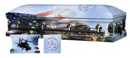 Army Military Caskets for those who served in the Army. This Military Army Casket is with military insignias that pertain to the Army. http://cemeterybroker.com/blog/caskets/military-caskets-prices