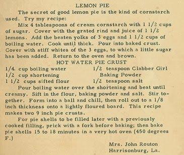 Family Recipe Friday ~ Lemon Pie #genealogy #familyhistory