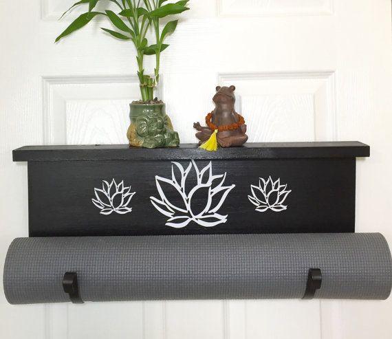 Yoga, yoga noir, yoga fait à la main, porte tapis d