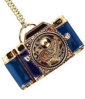 Large Collier Appareil Photo Bleu - Collier avec Gros Pendentif en forme d'Appareil Photo: Amazon.fr: Bijoux