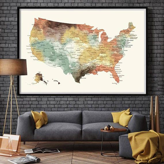 US Map Push Pin Wall Art Poster Print, USA states MAP large wall ...