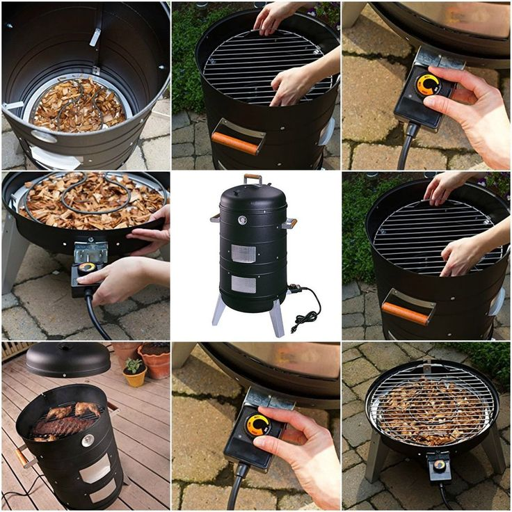 Electric Barbecue Grill Smoker Adjustable 2 in 1 Portable Camping Cooking BBQ #GrillSmokers