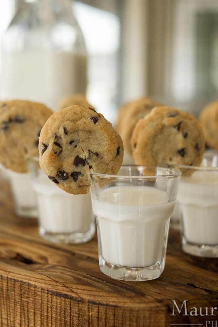 Your wedding guests will obsess over these adorable cookies and milk shots!