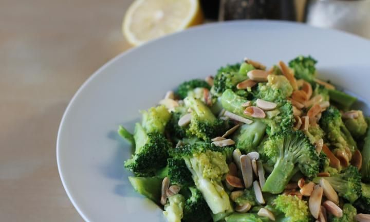 Warm broccoli and avocado salad
