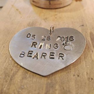 Dog ring bearer tag. Ring bearer gift. Personalized pet wedding jewelry by RamixBijoux on Etsy https://www.etsy.com/listing/384516746/dog-ring-bearer-tag-ring-bearer-gift