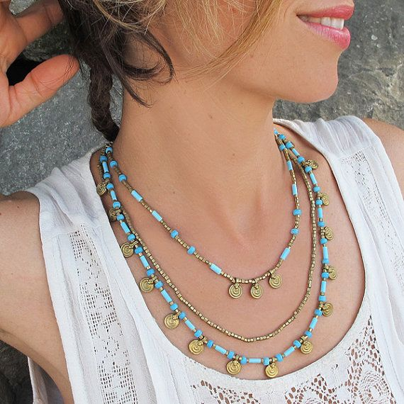 Turquoise Brass Necklace, Turquoise Necklace,Turquoise Boho Necklace,Boho Necklace,Bohemian Necklace, Boho Jewelry, Bohemian Jewelry