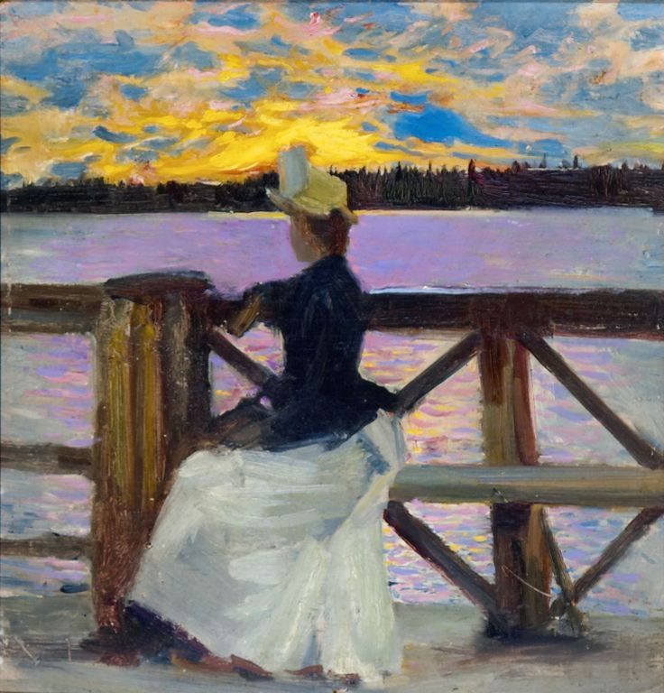 Akseli Gallen-Kallela, Mary Gallen on the Kuhmoniemi Bridge, 1890