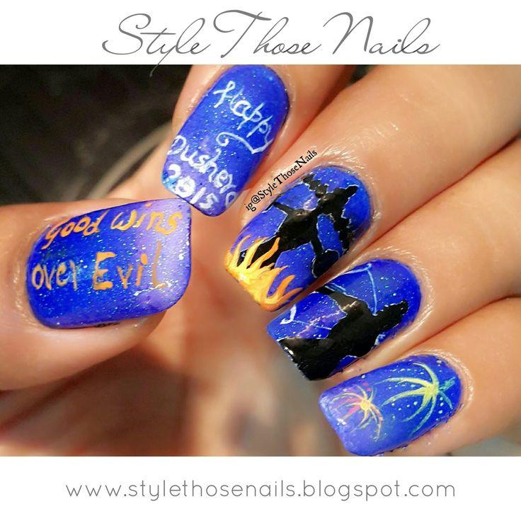 Please read more http://stylethosenails.blogspot.com/2015/10/dusshera-nailart-2015.html Style Those Nails: Dusshera Nailart 2015