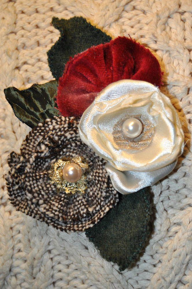 white deep pink velvet flower brooch coat scarf dress pin corsage vintage tweed