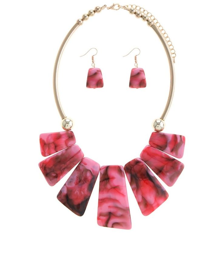 Pink stone necklace and earrings