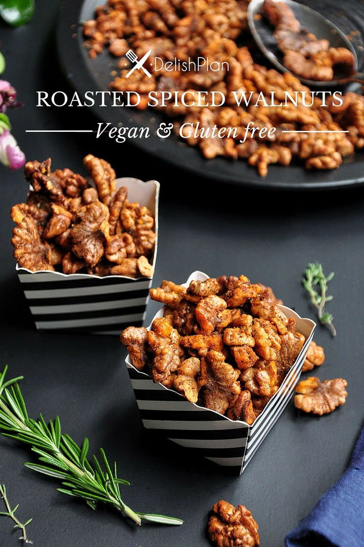 100% vegan and gluten free, these Roasted Spiced Walnuts are one of the easiest, tastiest, and most versatile things you can make at home. Read more at  http://www.delishplan.com/roasted-spiced-walnuts-vegan/