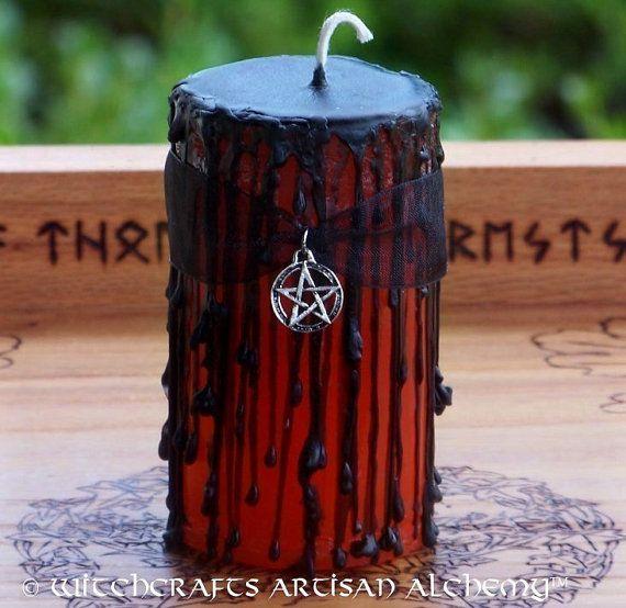 SAMHAIN Orange & Black Sabbat Pillar Candle w/ Pentacle for Halloween Spirit Night Celebrations by ArtisanWitchcrafts