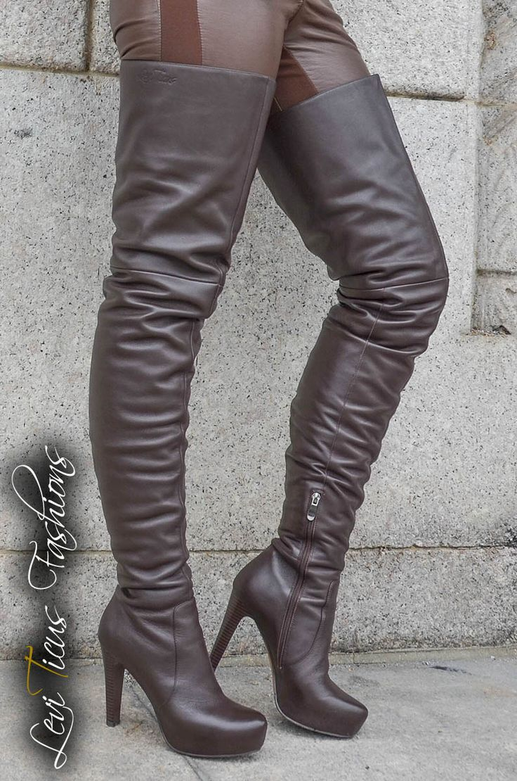 Chocolate Brown Leather Platform High Rize Boots In 2019