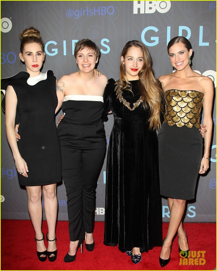 Great Lena Dunham Allison Williams Zosia Mamet and Jemima Kirke pose together at the premiere of HBO us Girls hosted by The Cinema Society held at the NYU