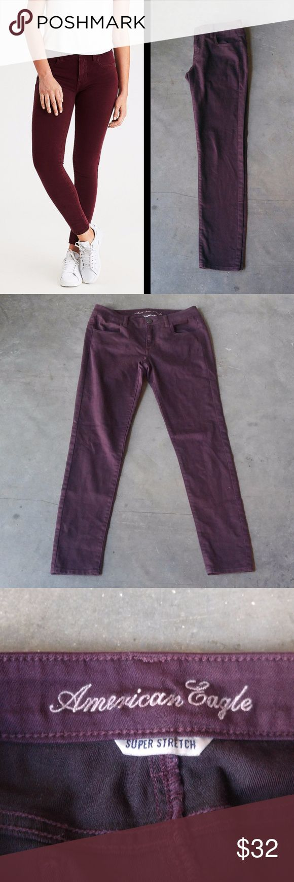 American Eagle Outfitters Purple Jeggings American Eagle jeggings, size 6 regular, in excellent condition! Jegging style is very fitted and skinny throughout but has stretch. Deeper eggplant purple color. Truest color is shown in actual photos. Cover photo from American Eagle website is meant to show fit. No trades. No modeling. Make a reasonable offer. Thanks! American Eagle Outfitters Jeans Skinny