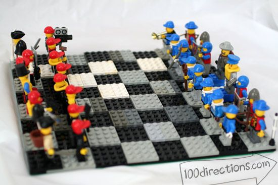 Make your own LEGO chess game. This is a great thing to make after the kids are tired or too old to play with Legos.