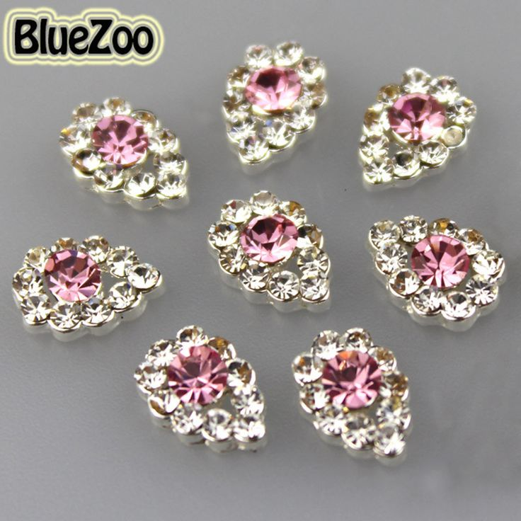 BlueZoo Bling 10pcs/pack Pink Alloy Rhinestones 3D Nail Art Decoration Teardrop Waterdrop Nail Design DIY Beauty Tips 9mm*7mm //Price: $3.95 & FREE Shipping //     #hashtag4