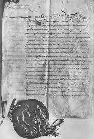 Het Edict van Nantes is in 1598 door de grootvader van Lodewijk XIV,  Hendrik IV, opgesteld. Het hield in dat de protestanten (Hugenoten) hun godsdienst mochten behouden. Lodewijk XIV vond dat iedereen hetzelfde geloof moest hebben als hij, dus in 1685 was het Edict van Nantes vervallen. Daardoor vluchtten veel Hugenoten uit Frankrijk.
