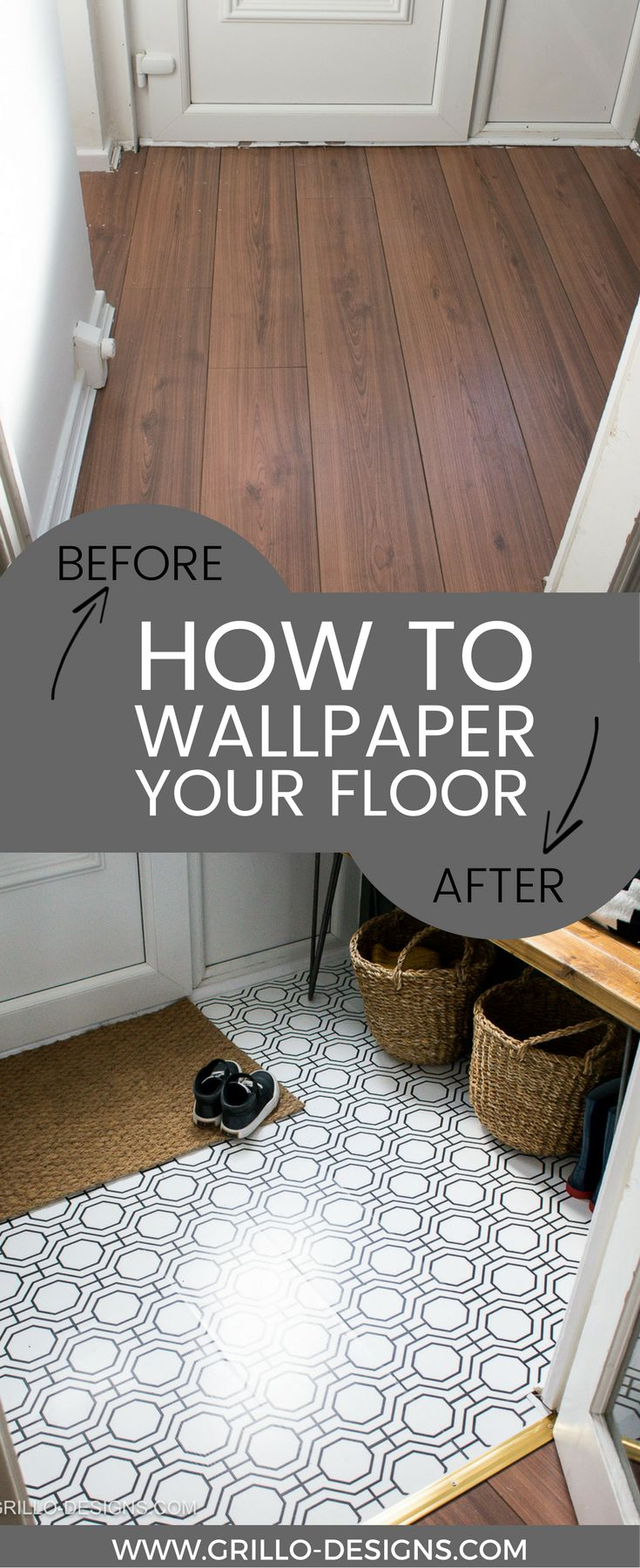 Everything you need to know about how to wallpaper a floor - a laminate floor to be precsie. This is a renter-friendly option using contact paper (fablon)