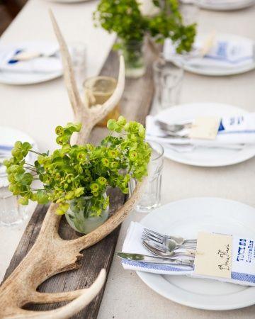 """Vanha lauta keskellä pöytää. Koristeena sarvia ja kauniita vihreitä """"luonnonkukkia"""""""