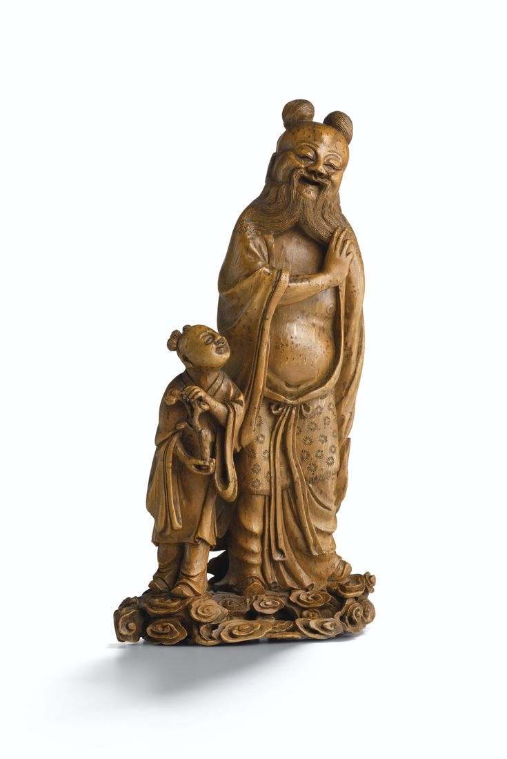 A rare finely carved bamboo root immortal and child