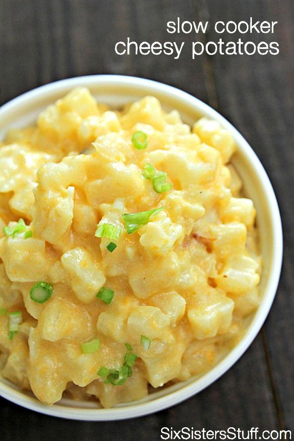 Slow Cooker Cheesy Potatoes on SixSistersStuff